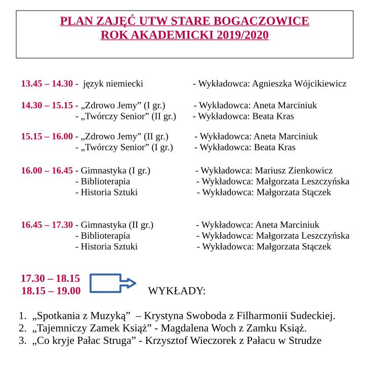 UTW harmonogram I półrocze 2019-2020